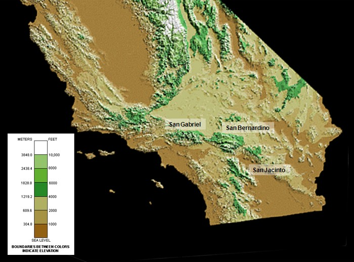 Southern California Elevation Map Just Had To Pin Pinterest - Elevation map of california