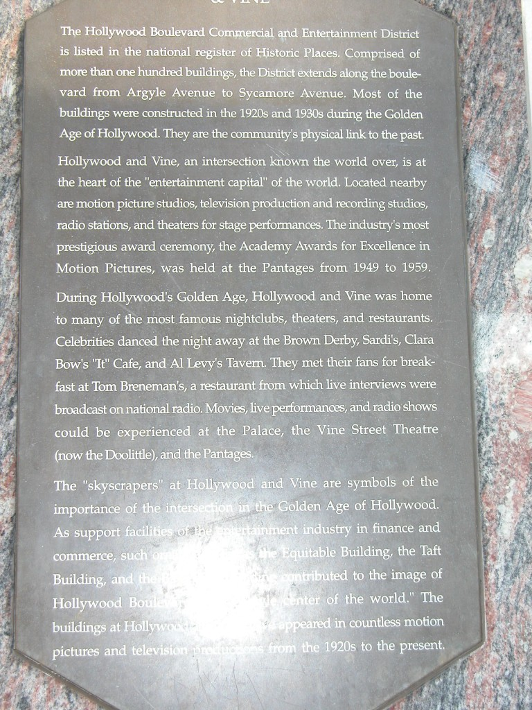 A placque describing the importance of the area during the Golden Age of Hollywood