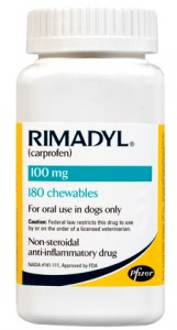 Rimadyl is used for the treatment of postoperative orthopedic pain and inflammation in dogs.