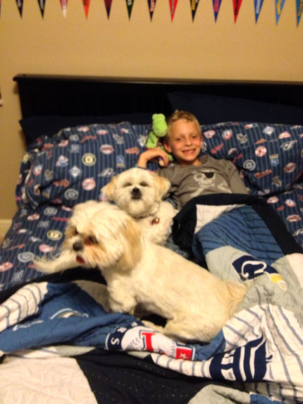 Garrett with Macy and Daisy