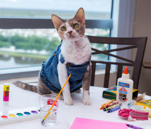 Daisy shows off her Mother's Day arts & crafts