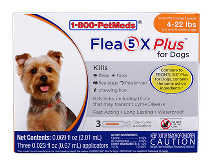 Flea5X Plus Contains same active ingredients as Frontline Plus